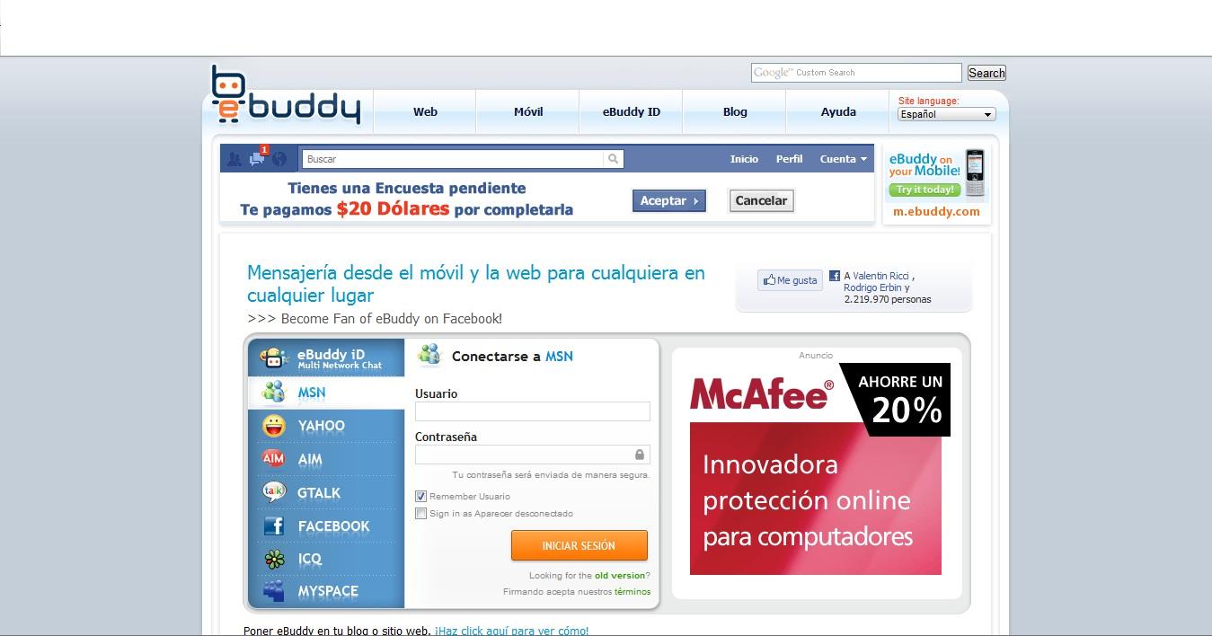 ebuddy para messenger web gratis