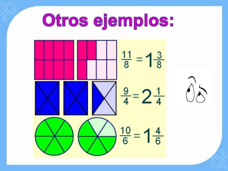 20 ejemplos de fracciones impropias