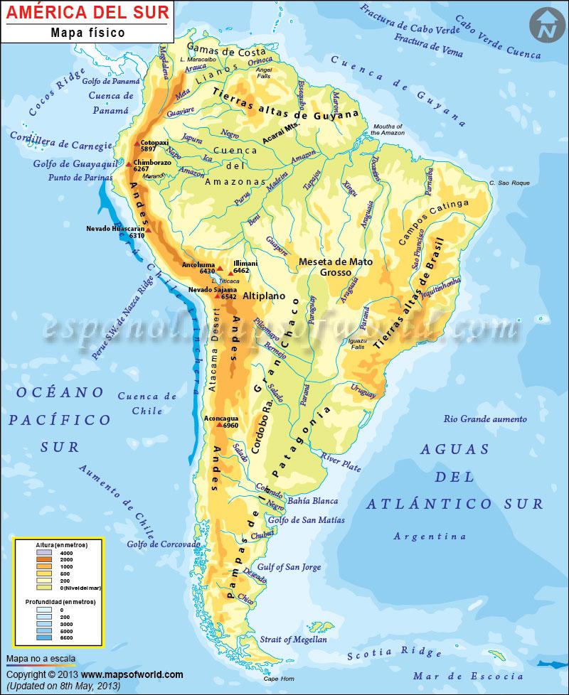 mapa de rios america del sur
