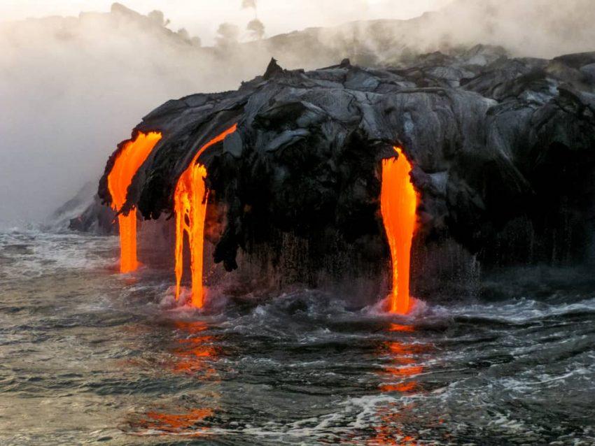 Lava de Volcán en erupción.