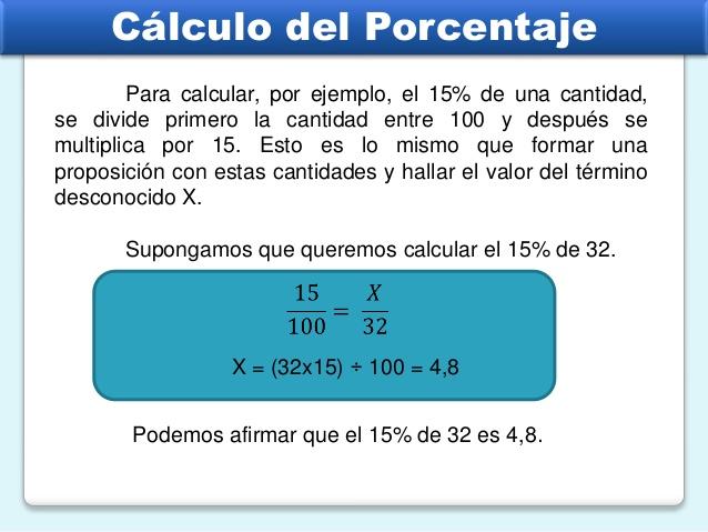 calculo del porcentaje